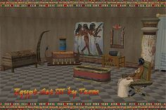 This is is a very old Sims 2 set, but it still works.  The site it was originally part of died a long time ago, but enthusiastic modders kept the goodies, as well as the pictures.  You can find this and the other 2 Egyptian sets at: http://sims2graveyard.com/index.php/downloads/category/1613-mobel?start=40