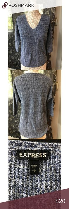 Express Sweater Beautiful women's sweater from Express! Size small. Blue color. V-neck with 3/4 sleeve and longer length in back. Super comfy for a slouchy fall look! Express Sweaters