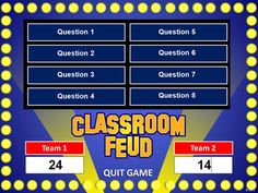 I love Family Feud! Classroom Feud PowerPoint Template - Plays Like Family Feud Study Websites, Teacher Websites, Teacher Tools, Teacher Resources, Teaching Technology, Educational Technology, School Classroom, Classroom Activities, Classroom Ideas