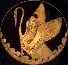 HYAKINTHOS ON SWAN. Red figure Greek vase painting, attributed to Apollodorus. ca 525 - 475 BC