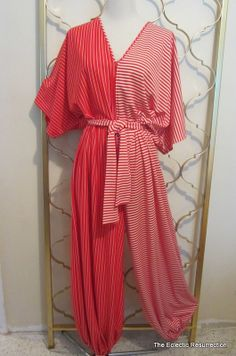 Vintage 1970s Lounging Jumpsuit Anne Klein for Lily of France Red & White Stripe