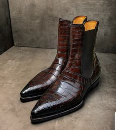 Alligator boots for sale Mens Shoes Boots, Leather Boots, Men's Boots, Dress With Boots, Dress Shoes, Men Dress, Alligator Boots, Chelsea Ankle Boots, Stylish Boots