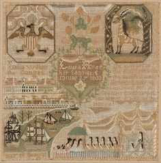 Laura Hyde (nacido en 1787) Fecha: 1800 Geografía: Hecho en Franklin, Connecticut, Estados Unidos Cultura: Americana Medio: seda en el lino, bordado Dimensiones:. 13 1/4 x 13 in (33,7 x 33 cm)
