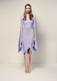 Alex Perry Cara Satin Crepe Long Sleeve Split Lady Dress - Lilac - Coco California