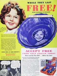 Shirley Temple Bowl - Wheaties offered the bowl and pitcher in their advertising....I have the pitcher (cup)