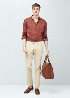 Slim-fit tie print linen-blend shirt | MANGO MAN