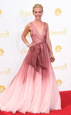 Cat Deely from 2014 Emmys: Red Carpet Arrivals...Wow pretty imagine this in your wedding colors. Add embellishments for that special touch. Cheaper to have custom-made than purchasing from salon. Be open for suggestions from your dressmaker.