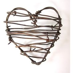 Barbed Wire Heart - Cowboy's Heart - rustic wedding decor love wedding... ❤ liked on Polyvore