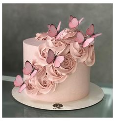 Butterfly Birthday Cakes, Birthday Cake With Photo, Birthday Cake With Flowers, Beautiful Birthday Cakes, Butterfly Cakes, Birthday Cake Girls, Beautiful Cakes, Cake With Butterflies, Birthday Cake Designs