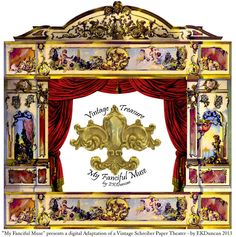 """Digital Adaptation of a Vintage J.F. Schreiber Rococo Toy Theater - """"My Fanciful Muse by EKDuncan.  Lots more images to go with it at http://www.ekduncan.com/2013/06/my-adaptation-on-vintage-jf-schreiber.html"""