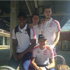 Antonio Valencia (left) poses with Manchester United team-mates Ander Herrera (centre), David de Gea (right) and Marcos Rojo before leaving for the game with West Ham