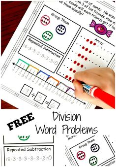 Division Problem Solving with Five Ways to Solve.FREE Worksheets Are your children ready to conquer division? These interactive, division problem solving worksheets will help children solve word problems in five different ways. Teaching Division, Division Activities, Math Division, Math Activities For Kids, Fun Math, Teaching Art, Math Help, Teaching Ideas, Division Strategies
