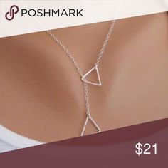 NEW silver dainty open triangle necklace Never worn new silver alloy metal necklace Jewelry Necklaces