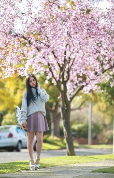Cherry blossoms: Chloe Ting styles the Bianca Grafea backpack Grafea Backpack, Chloe Ting, Spring Awakening, Cherry Blossoms, Melbourne, Skirts, Blog, Outfits, Style