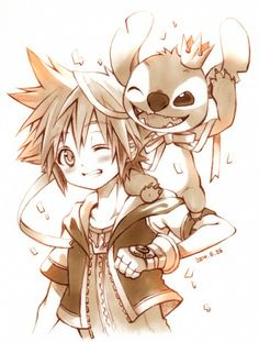 Sora and Stitch - Kingdom Hearts II Manga Anime, Cry Anime, Anime Art, Sora Kingdom Hearts, Kingdom Hearts Tattoo, Arte Final Fantasy, Disney Pixar, Chibi, Monsters