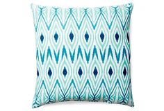Ikat 20x20 Outdoor Pillow, Teal on OneKingsLane.com