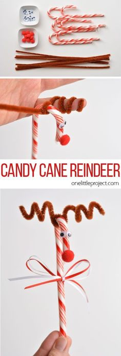 Look at these adorable and easy Candy Cane Reindeer craft idea http://stayingclosetohome.com/december-4th-crafts-and-recipes-fridayfrenzy/
