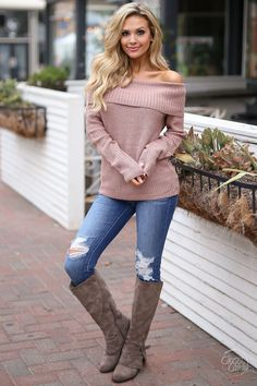 Weekend At the Cabin Sweater - cute off the shoulder sweater, fall outfit, Closet Candy Boutique