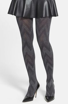 Hue Metallic Zigzag Tights on shopstyle.com