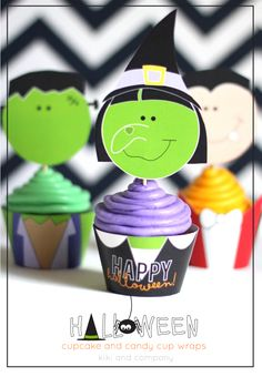 Halloween Cupcake and Candy Cup Wraps {free printable}