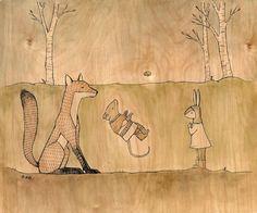 Healing Spell - anthropomorphic woodland fantasy animal magic ritual art print - mouse fox and rabbit - painted illustration on birch wood