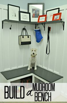 Mudroom Bench — Decor and the Dog 37 Prettiest Cabinet of Share DIY Home Care Ideas Diy Storage Bench, Laundry Room Storage, Corner Bench With Storage, Shoe Storage, Storage Shelves, Shelving, Diy Bench, Bench Seat, Bench Decor