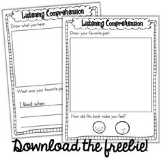 FREE Listen to Reading Response Sheets! Perfect for Kindergarten! Reading Response Activities, Reading Centers, Reading Workshop, Reading Skills, Teaching Reading, Teaching Tools, Reading Comprehension, Teaching Ideas, Writing Centers