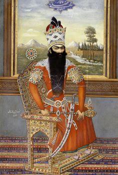 Portrait Of Sultan Fath Ali Shah Qajar, Persia, Qajar, Circa 1850 love iranian art, but oh my , what a beard !!