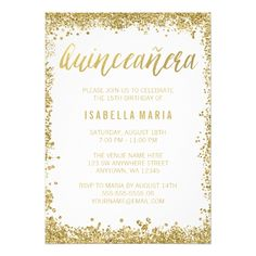 Shop Sweet 16 Gold White Faux Glitter Birthday Invitation created by printcreekstudio. Personalize it with photos & text or purchase as is! Sweet 16 Birthday, 15th Birthday, Birthday Ideas, Happy Birthday, Golden Birthday, Quinceanera Invitations, Birthday Party Invitations, Quinceanera Party, Wedding Invitations