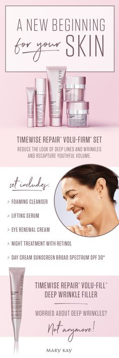A new age of beauty is born! TimeWise Repair® Volu-Firm® Set is a scientifically innovative regimen that proves it's never too late to help rescue skin from the damage of the past and recapture a vision of youthfulness. | Mary Kay
