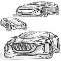 A Hyundai concept design by Car Design Sketch, Car Sketch, Automobile, Car Drawings, Transportation Design, Automotive Design, Car Pictures, Sport Cars, Designs To Draw