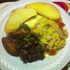 Nice Jamaican  breakfast dish !!!. Fried breadfruit, ackee & saltfish, callaloo & fried plantain...YUM !