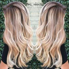 Light Brown Hair with Perfect Blonde Sombre with Loose Waves/Curls. Hair Color And Cut, New Hair Colors, Cute Hair Colors, Lange Blonde, Balayage Hair, Blonde Sombre Hair, Balayage Color, Darker Roots Blonde Hair, Red To Blonde Hair