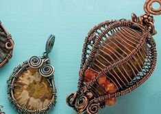 Basketweave and Enchanted Lantern wire bezel designs by Janice Berkebile - from Bezel Alternatives: 4 Ways to Set Stones (and Shells, Beads, and More) in Wire with Janice Berkebile - Jewelry Making Daily