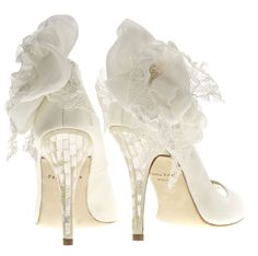 "Freya Rose ""Della Sky Blossom"" -  Peep Toes with Handmade Silk & Lace Flowers"