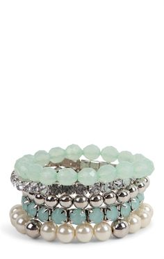 Mixed Stretch Bangles Set with Colored Beads, Pearls, and Stones