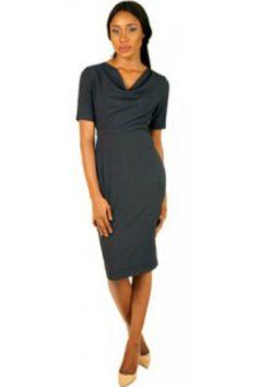 ODIRI SHORT SLEEVED MIDI LENGTH COWL NECK DRESS  #EVEANDTRIBE  #AfricanFashion #NigerianFashion #BuyNigerian   Available at http://lespacebylpm.com/
