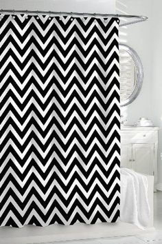 Beautiful Black And White Chevron Shower Curtain