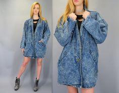 Vintage 80s 90s Acid Wash Denim Oversized Slouch Fit Blue Jean Dolman Batwing Sleeve Grunge Retro Hipster Jacket Coat Stefano Biker by BlueFridayVintage