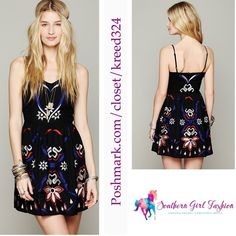 """Little Black Dress LBD FREE PEOPLE  Embroidered Size 10 New Without Tags.  $148.00  Color: """"Black Combo""""  Vibrantly embroidered dress. Fitted at waist.  Zipper closure up back.  Adjustable straps.   *100% Rayon   Measurements for Size 10: Length: 29""""  Bust (all around): 39""""  Waist (all around): 33""""  Strap Length: 14""""   ❗️ Please - no trades, PP, holds, or Modeling.   ✔️ Reasonable offers considered when submitted using the blue """"offer"""" button.    Bundle 2+ items for a 20% discount!    Stop…"""
