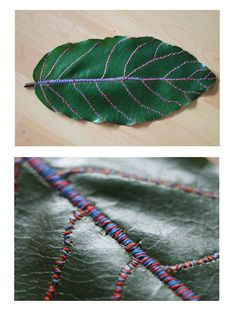 Embroidery thread on leaf.                                                                                                                                                                                 More