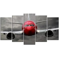 Toile Photo - Avion, Noir Blanc Rouge
