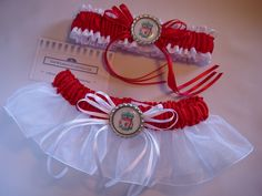 Liverpool Football Club wedding garter set with rimmed LFC badge charm.  Style 5 in satin and Style 8 in satin and organza.  TheWeddingGarter.com