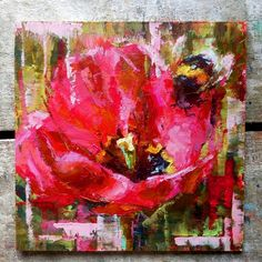 """Daily Paintworks - """"Tulip and Bee - Original Fine Art for Sale - © Valerie Lazareva Abstract Flowers, Abstract Art, Street Artists, Fine Art Gallery, Lovers Art, Art For Sale, New Art, Tulips, Original Paintings"""