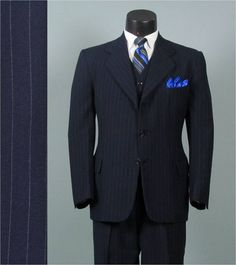 Vintage Three Piece Suit 1940s Navy Hairline by jauntyrooster, $285.00
