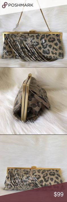 """🆕NWT  HOBO Colette Cheetah Shimmer evening clutch HOBO THE ORIGINAL Colette Evening clutch is an oversized genuine leather finished in a shimmery Cheetah pattern with a light shine and fringe. A large bag, convertible brushed gold straps. Bag drop is 8"""" with straps out. Tab lock frame enclosure on the top. Bag measures 12"""" W X 6"""" H 1"""" D. This bag is large enough for iPhone 6 or 7, makeup keys etc. Inside is dark a green satin lining. 6 credit card slots, one money slot, another zippered…"""