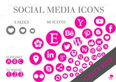 Social Media Icons Set Crazy Pink Download by jellyfishfish on Etsy Social Media Buttons, Social Media Icons, Icon Set, Purple, Pink, This Or That Questions, Website, Blog, Etsy