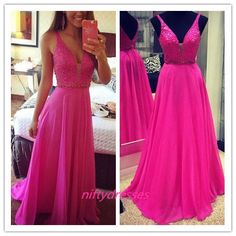 Deep V-neckline Sexy Prom Dress,Long Evening Party Dress,Sequins Formal Party Dress,Chiffon Prom Dress