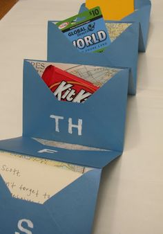 Glue envelopes together to make this. Put little treats/gifts in each envelope. Fun for a birthday or anniversary. :)