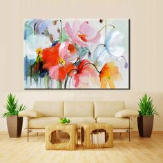 Stunning Floral Wall Art Modern Colorful Abstract Fine Art Canvas Poster Prints Paintings For Living Room Bedroom, Office or Hotel Interior Decor Canvas Poster, Canvas Wall Art, Poster Prints, Canvas Prints, Flower Canvas, Flower Wall, Hanging Paintings, Floral Wall Art, Wall Art Pictures